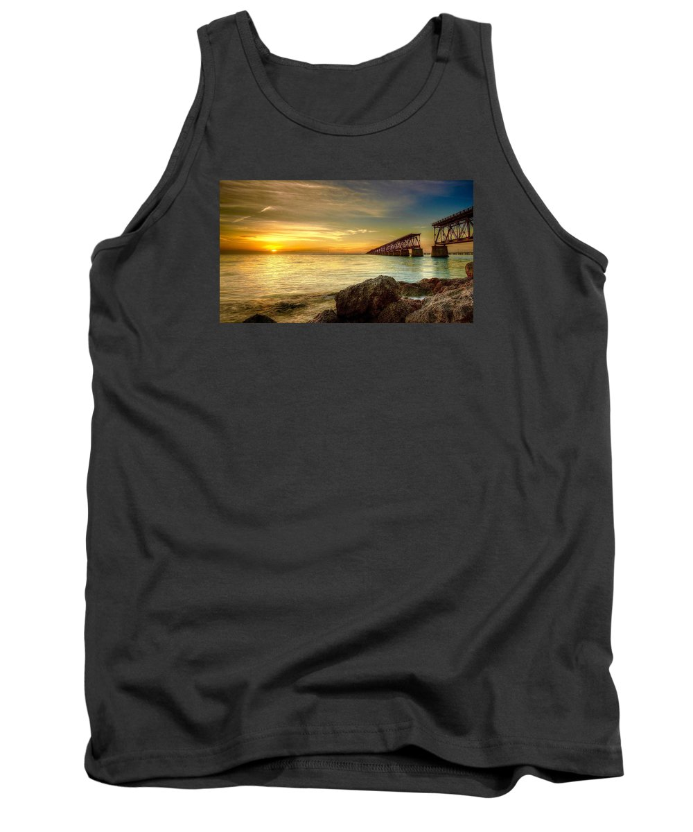 Bahia Honda State Park In The Florida Keys. Facing The Sunset With The Old Abandoned Rail Bridge Built By Henry Flagler Tank Top featuring the photograph Flagler Bridge At Sunset by Mark Reinnoldt