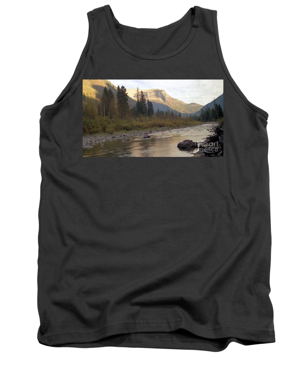 Flathead River Tank Top featuring the mixed media Flathead River by Richard Rizzo