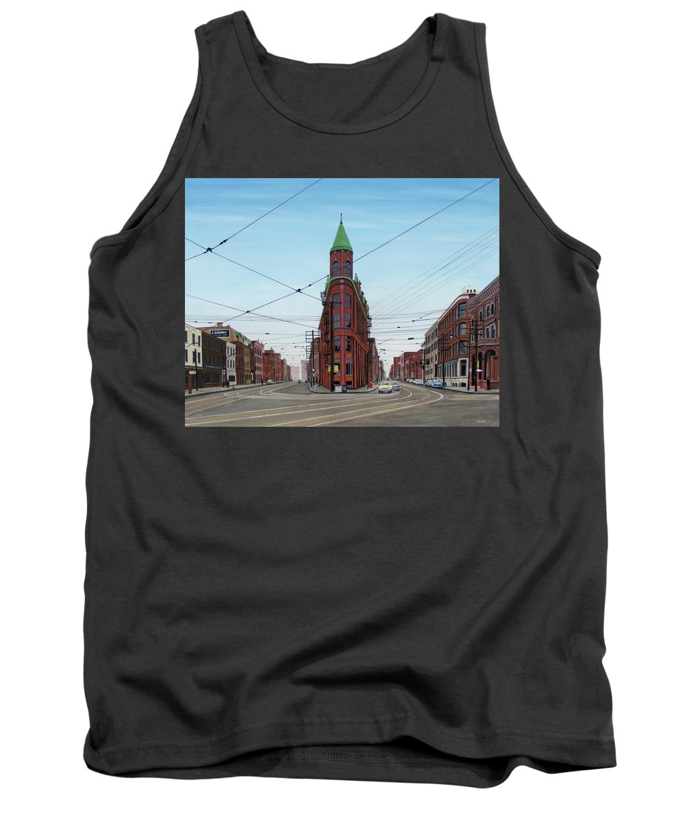 Streetscapes Tank Top featuring the painting Flatiron Building 1955 by Kenneth M Kirsch
