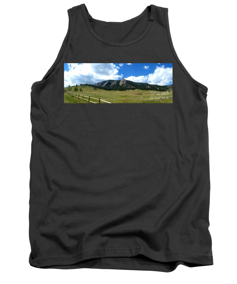 Flatiron Tank Top featuring the photograph Flatirons Panorama by Thomas Marchessault