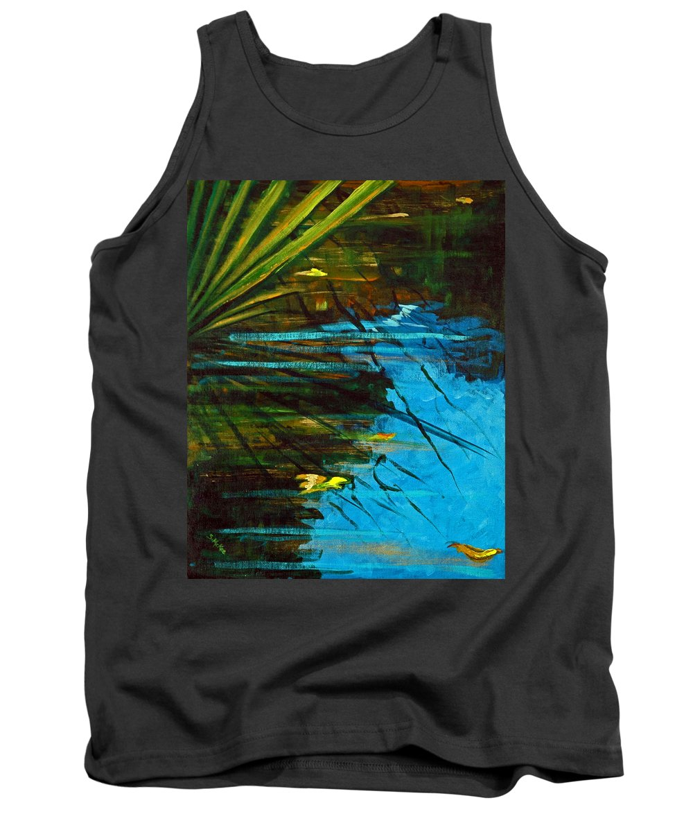 Acrylic Tank Top featuring the painting Floating Gold On Reflected Blue by Suzanne McKee