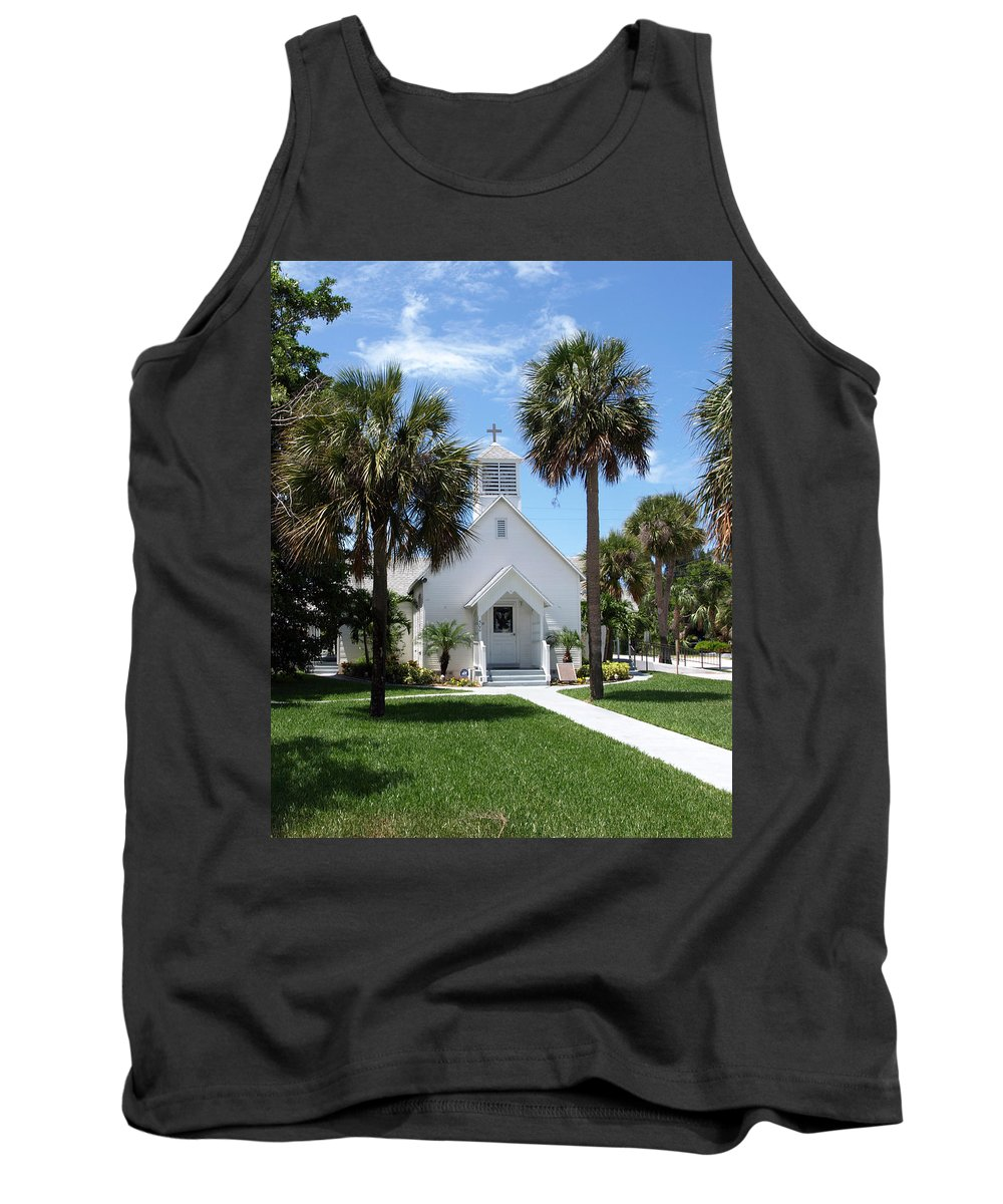 Chapel; Community; Melbourne; Beach; Florida; Melbourne Beach; Church; Congregationalist; Worship; M Tank Top featuring the photograph Florida Community Chapel by Allan Hughes