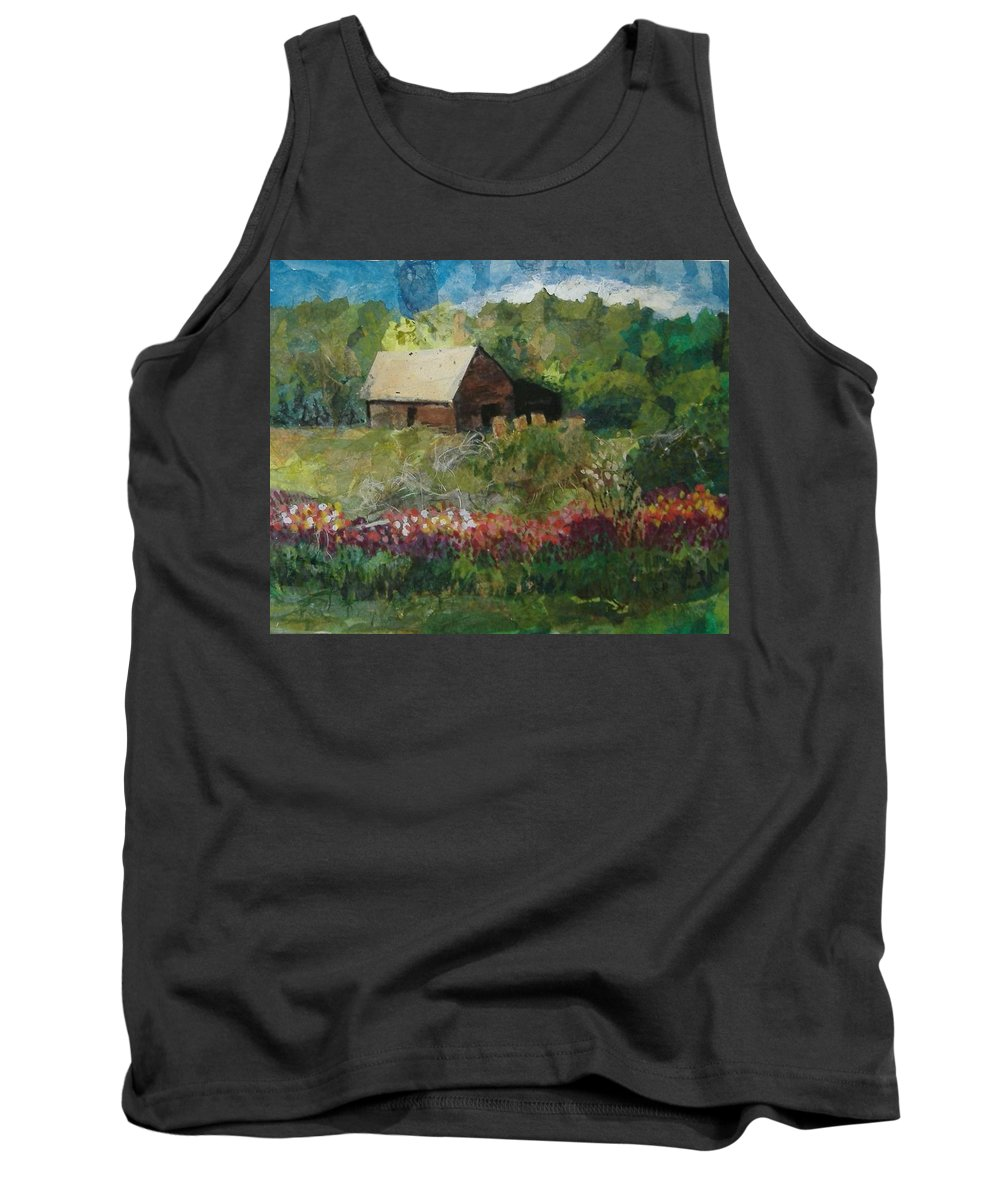 Landscape Tank Top featuring the mixed media Flower Farm by Pat Snook