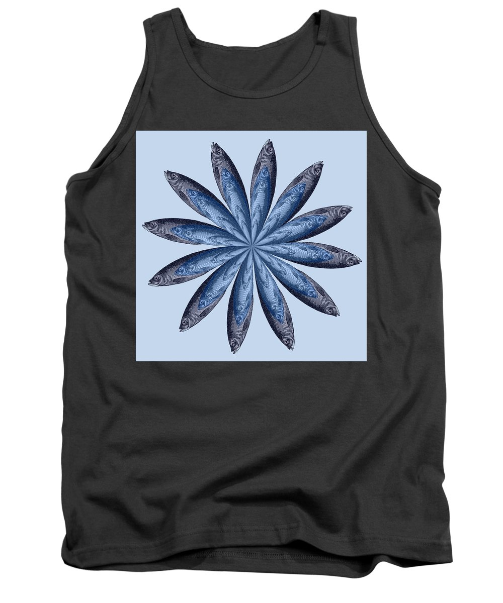 Flower Tank Top featuring the digital art Flower Fish by Joseph DeLuca