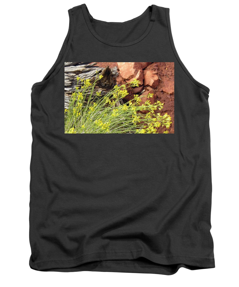 Flower Tank Top featuring the photograph Flower Wood And Rock by Marilyn Hunt