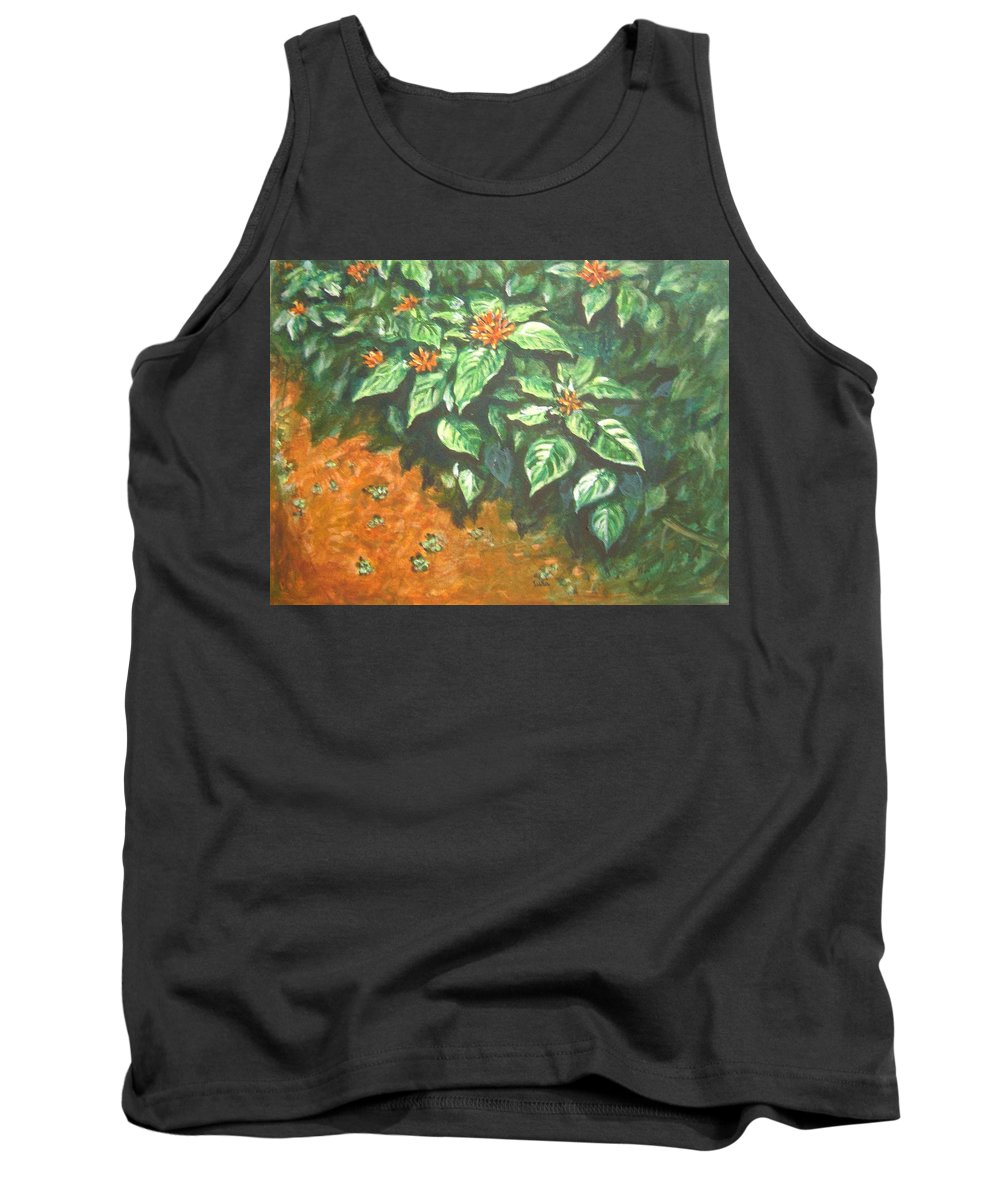 Orange Tank Top featuring the painting Flowers And Earth by Usha Shantharam