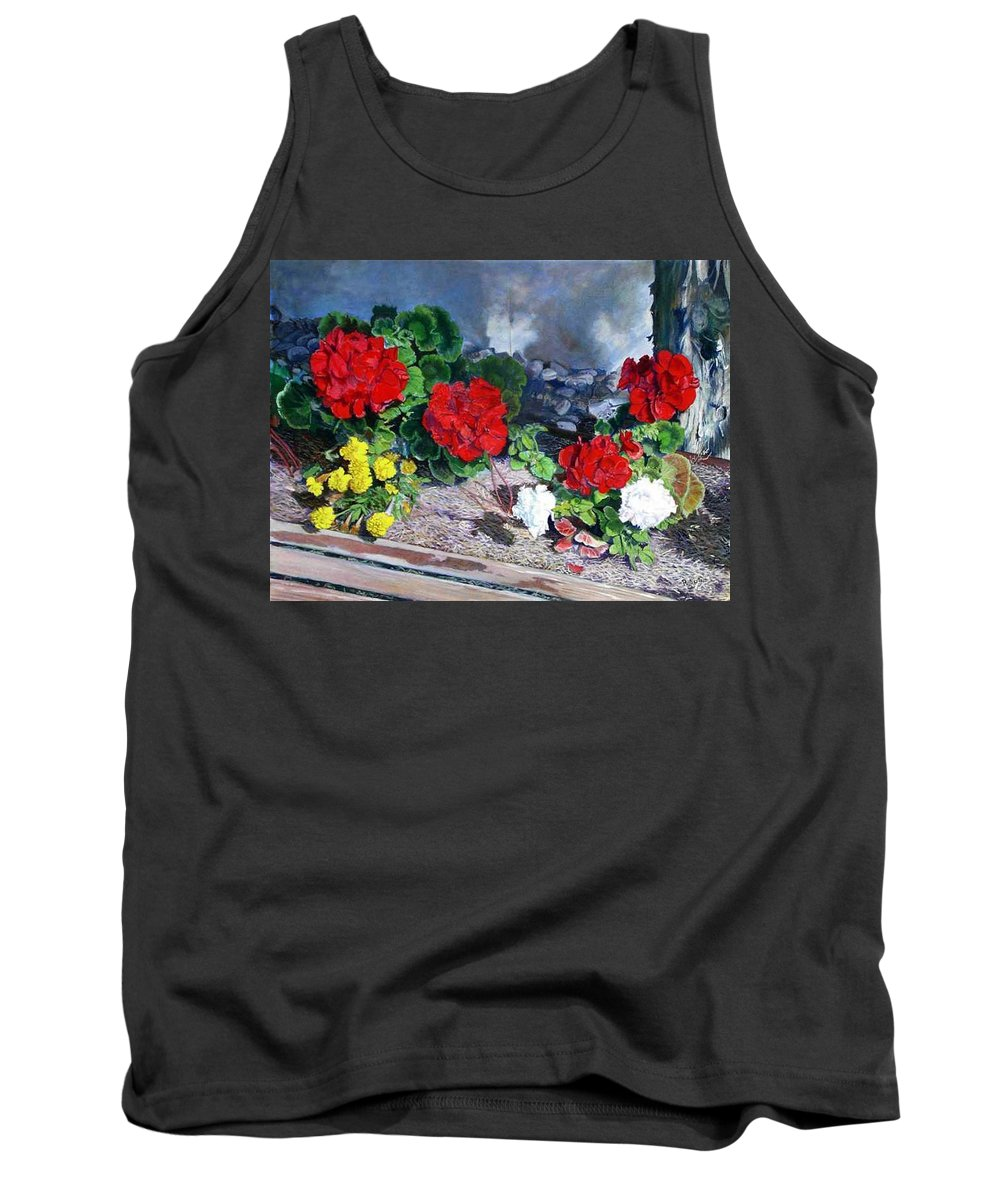 Colorful Flowers Outside Of The Church Tank Top featuring the painting Flowers At Church by Scott Robertson
