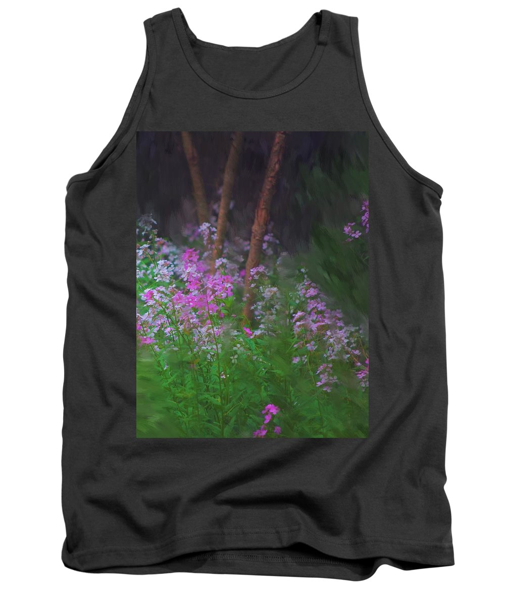 Landscape Tank Top featuring the painting Flowers In The Woods by David Lane