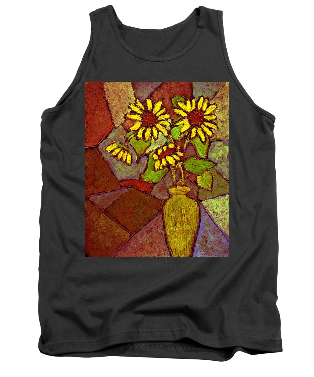 Sunflowers Tank Top featuring the painting Flowers In Vase Altered by Wayne Potrafka