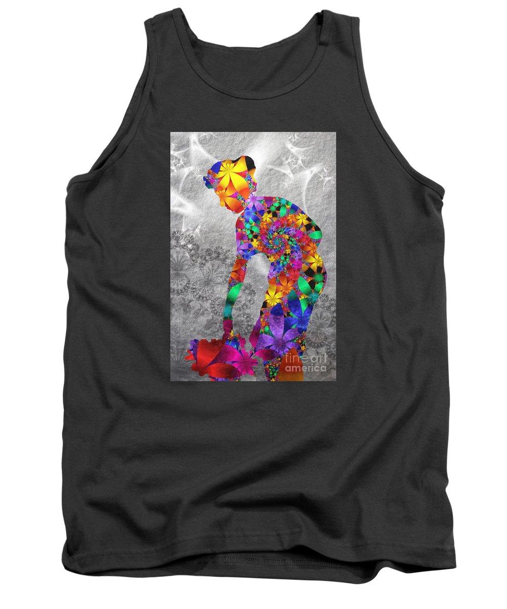 Flower Tank Top featuring the digital art Flowerwoman by Issabild -