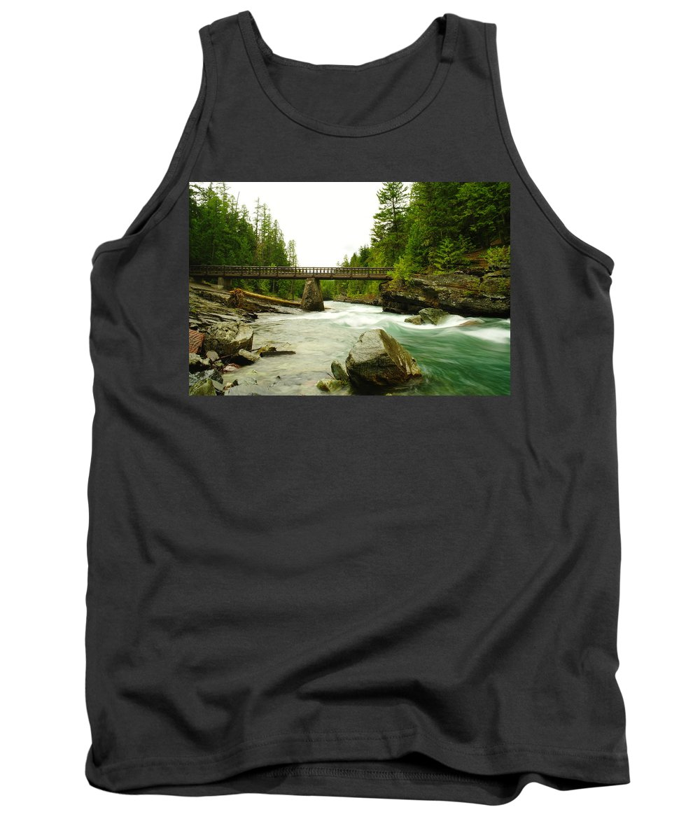 Nature Tank Top featuring the photograph Flowing Under The Walkbridge by Jeff Swan