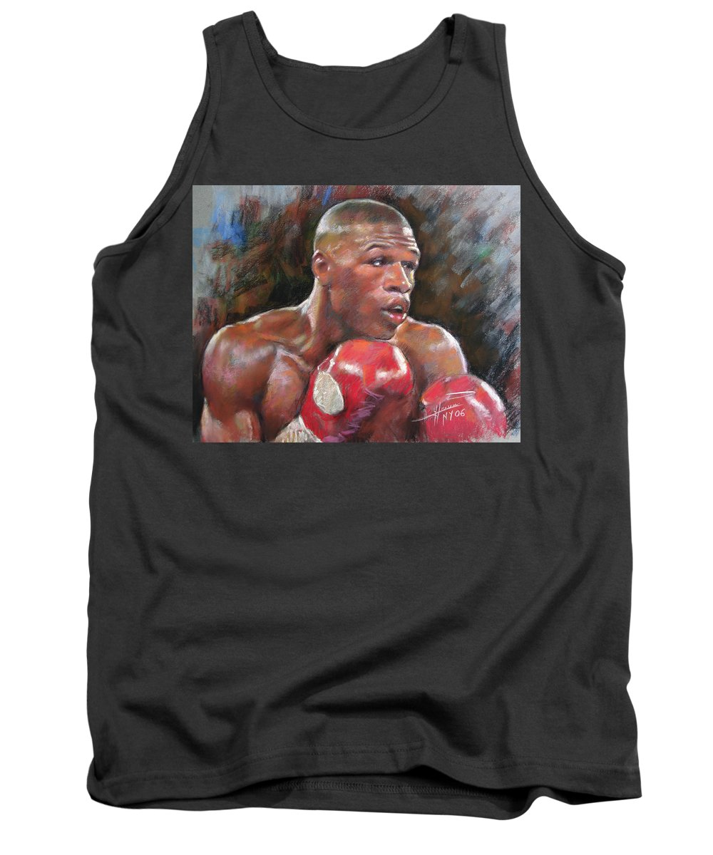 Floyd Mayweather Jr. Tank Top featuring the pastel Floyd Mayweather Jr by Ylli Haruni