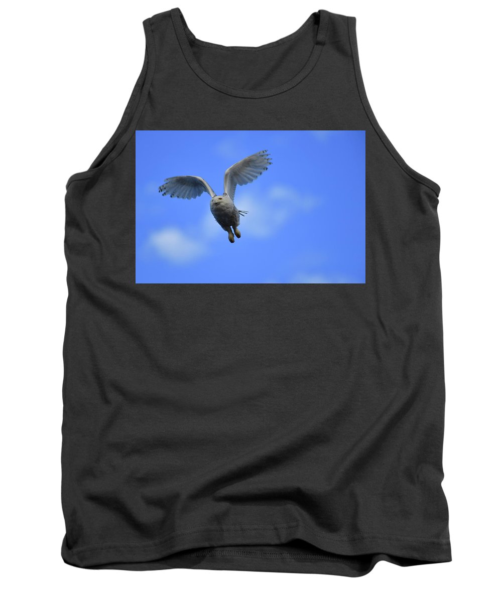 Snowy Owl Tank Top featuring the photograph Flying by Mark Madion