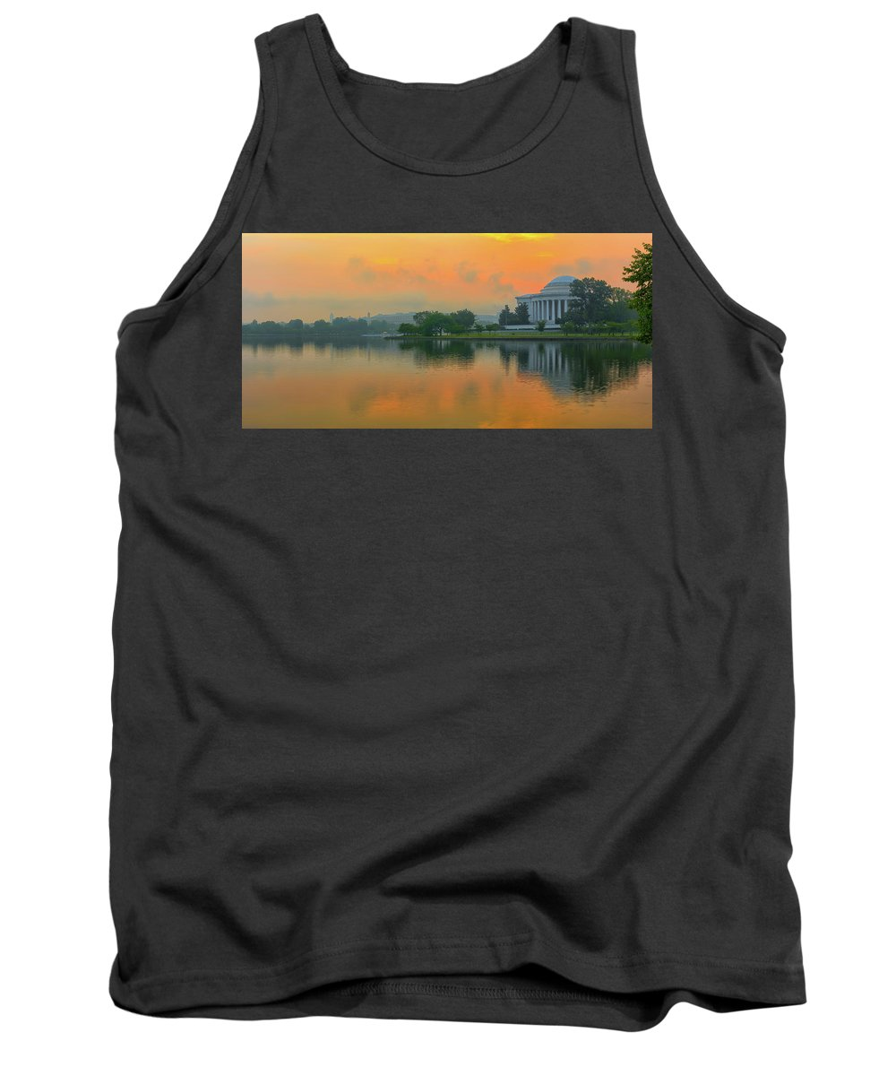 Architecture Tank Top featuring the photograph Foggy Sunrise At The Tidal Basin by Dennis Kowalewski