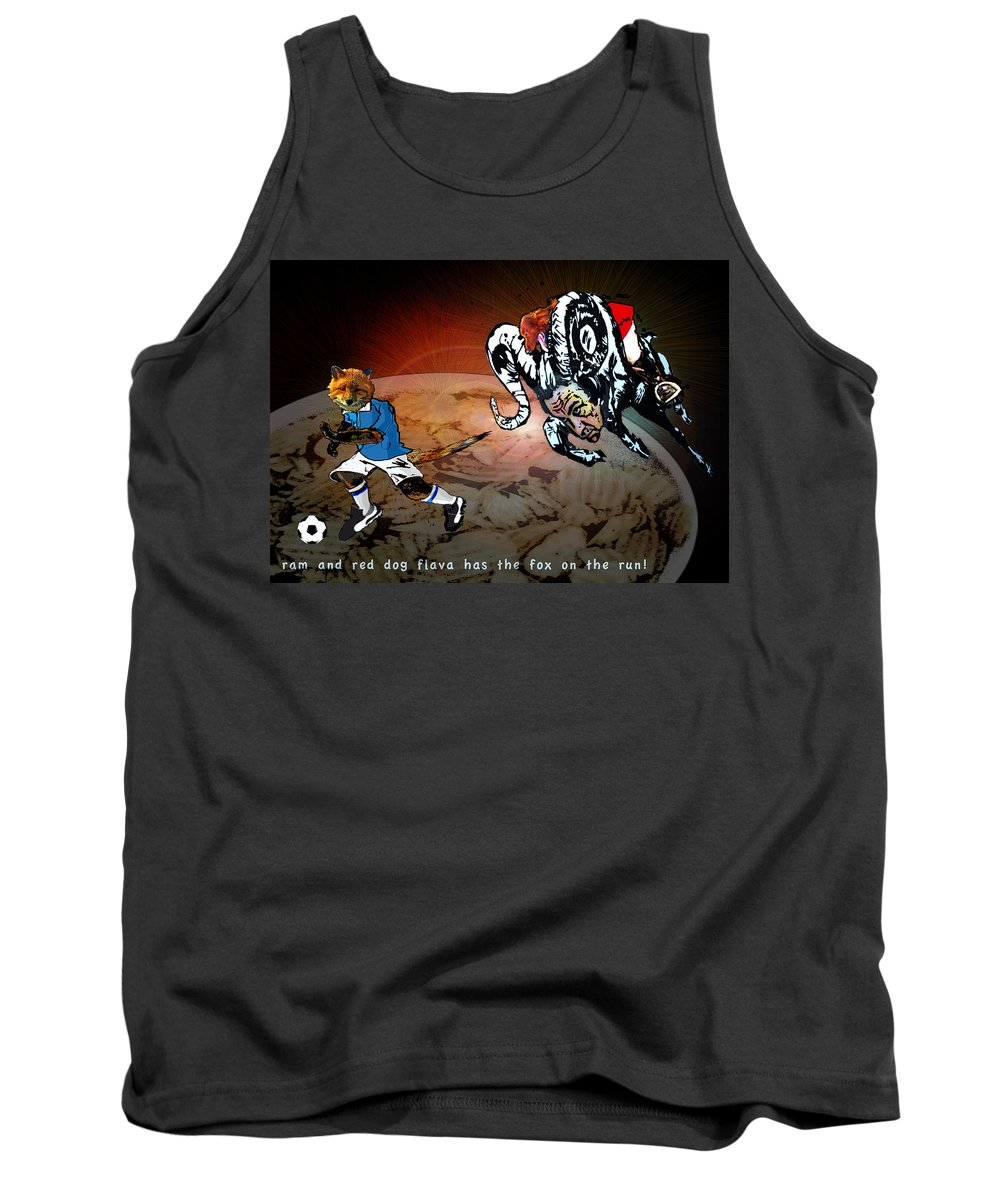 Football Calendar 2009 Derby County Football Club Leicester Artwork Miki Tank Top featuring the painting Football Derby Rams Against Leicester Foxes by Miki De Goodaboom