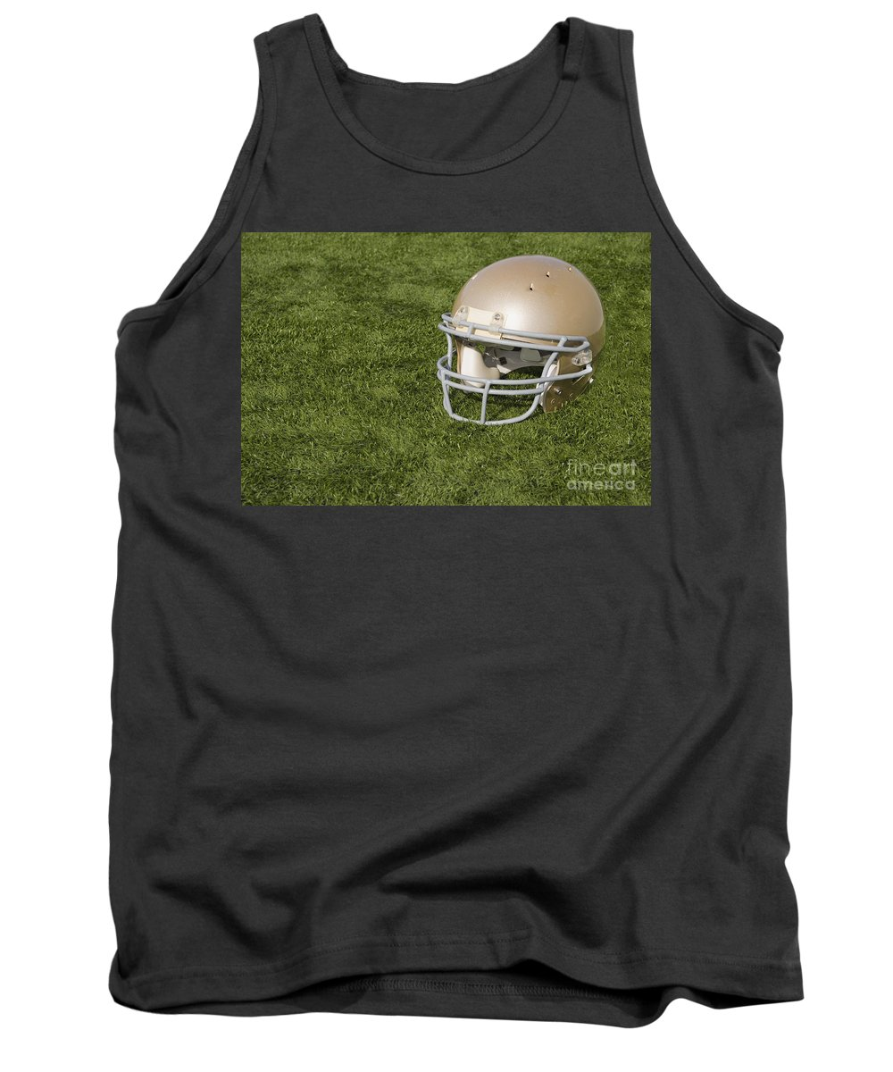 America Tank Top featuring the photograph Football Helmet On Artificial Turf by SAJE Photography