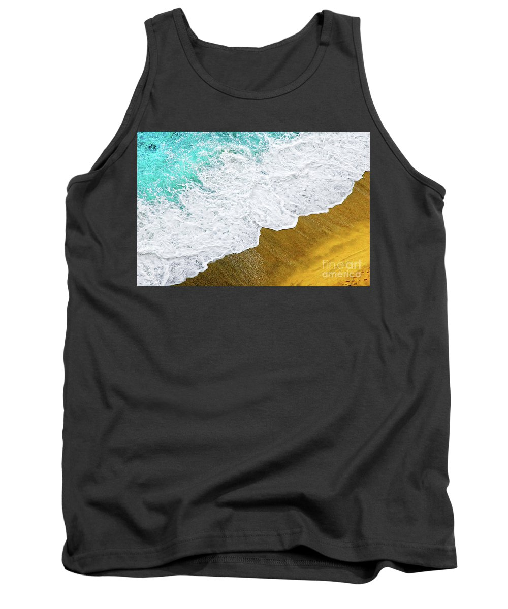 Water Tank Top featuring the photograph Footsteps In The Sand Hopelessly Facing The Rising Tide by Silvia Ganora