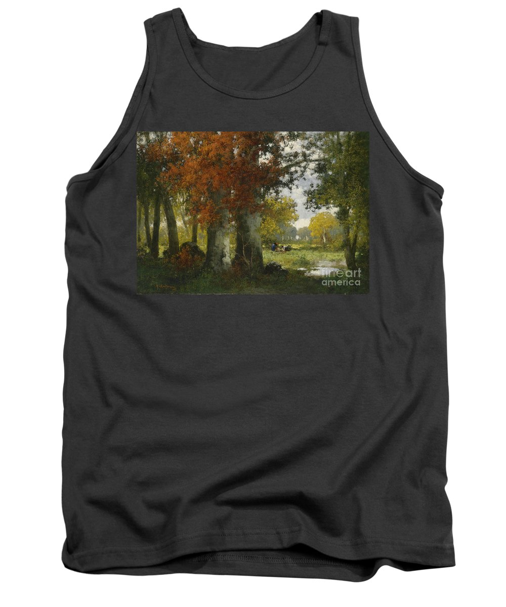 Adolf Kaufmann Tank Top featuring the painting Forest Clearing With Women Gathering Brushwood by Celestial Images