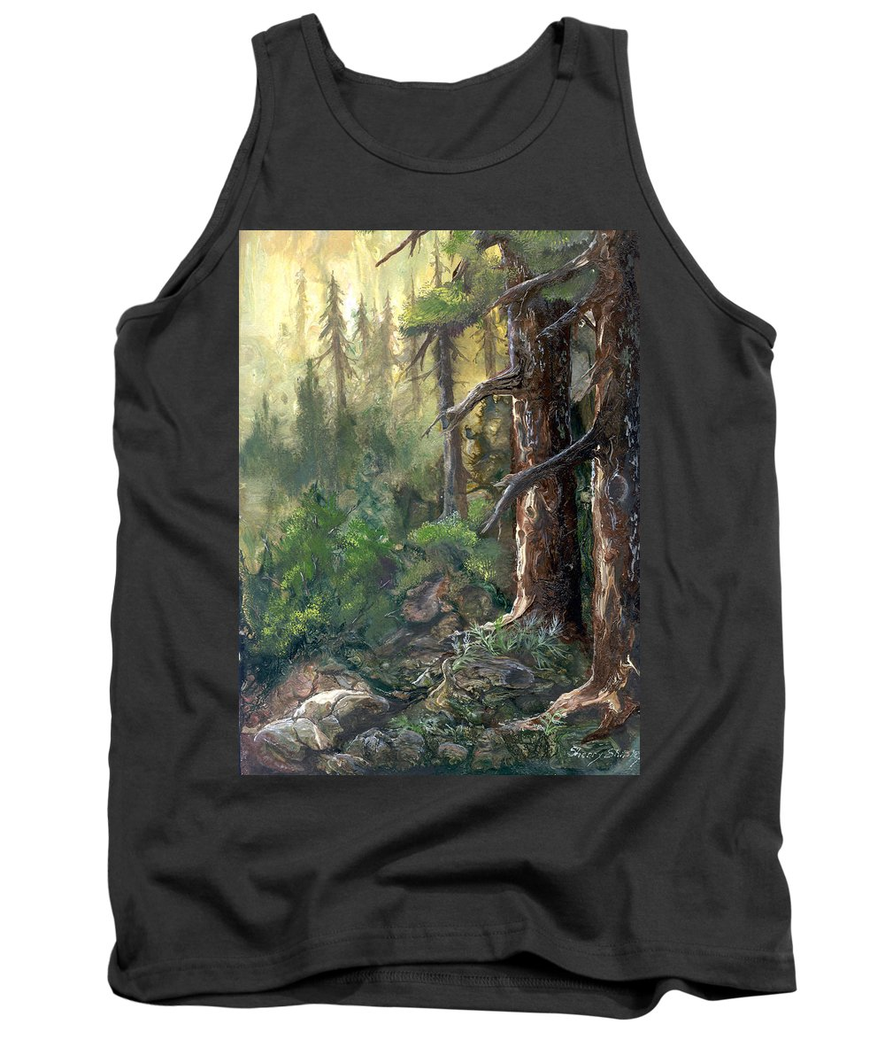 Trees Tank Top featuring the painting Forest Deep by Sherry Shipley