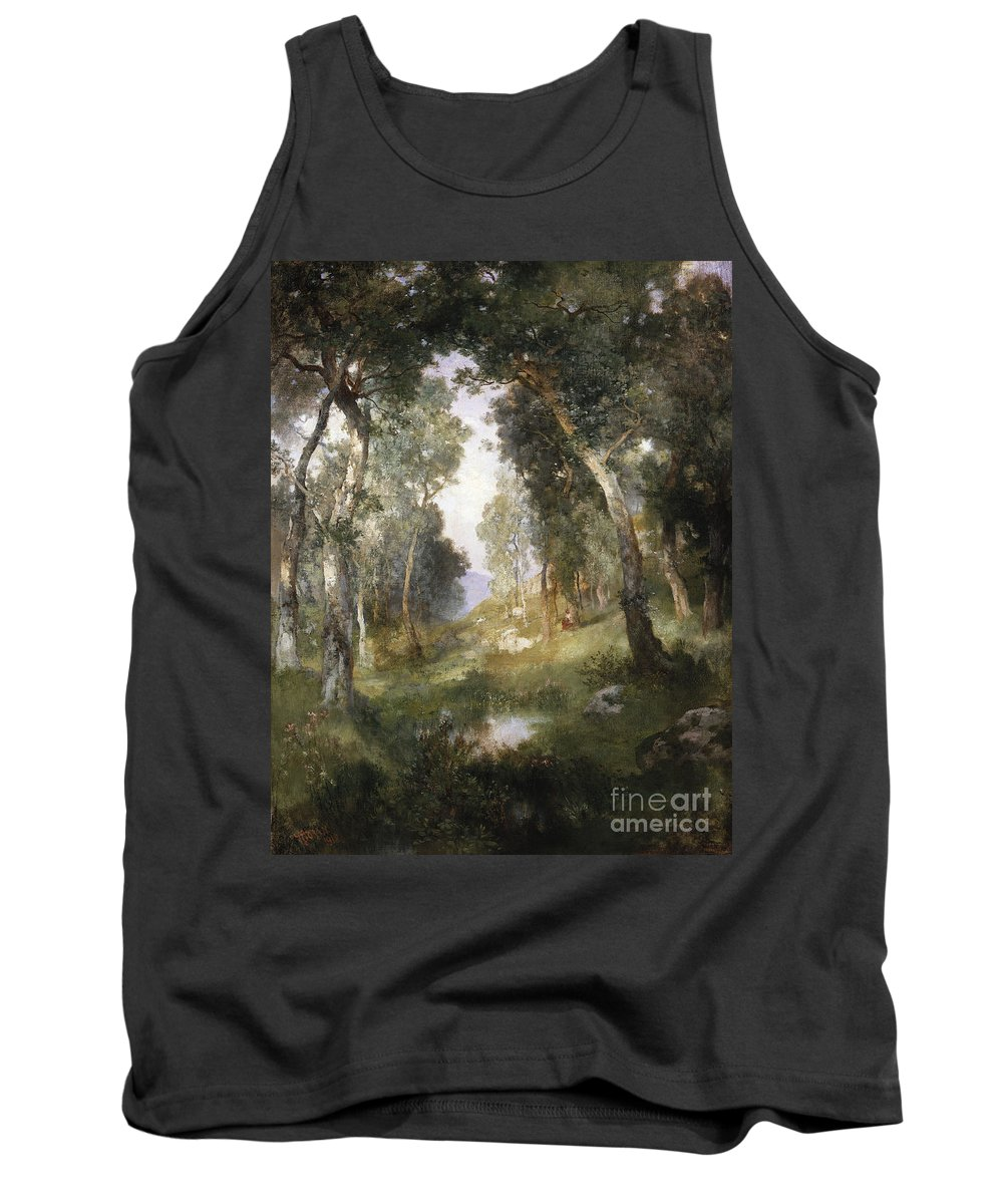 Forest Tank Top featuring the painting Forest Glade by Thomas Moran