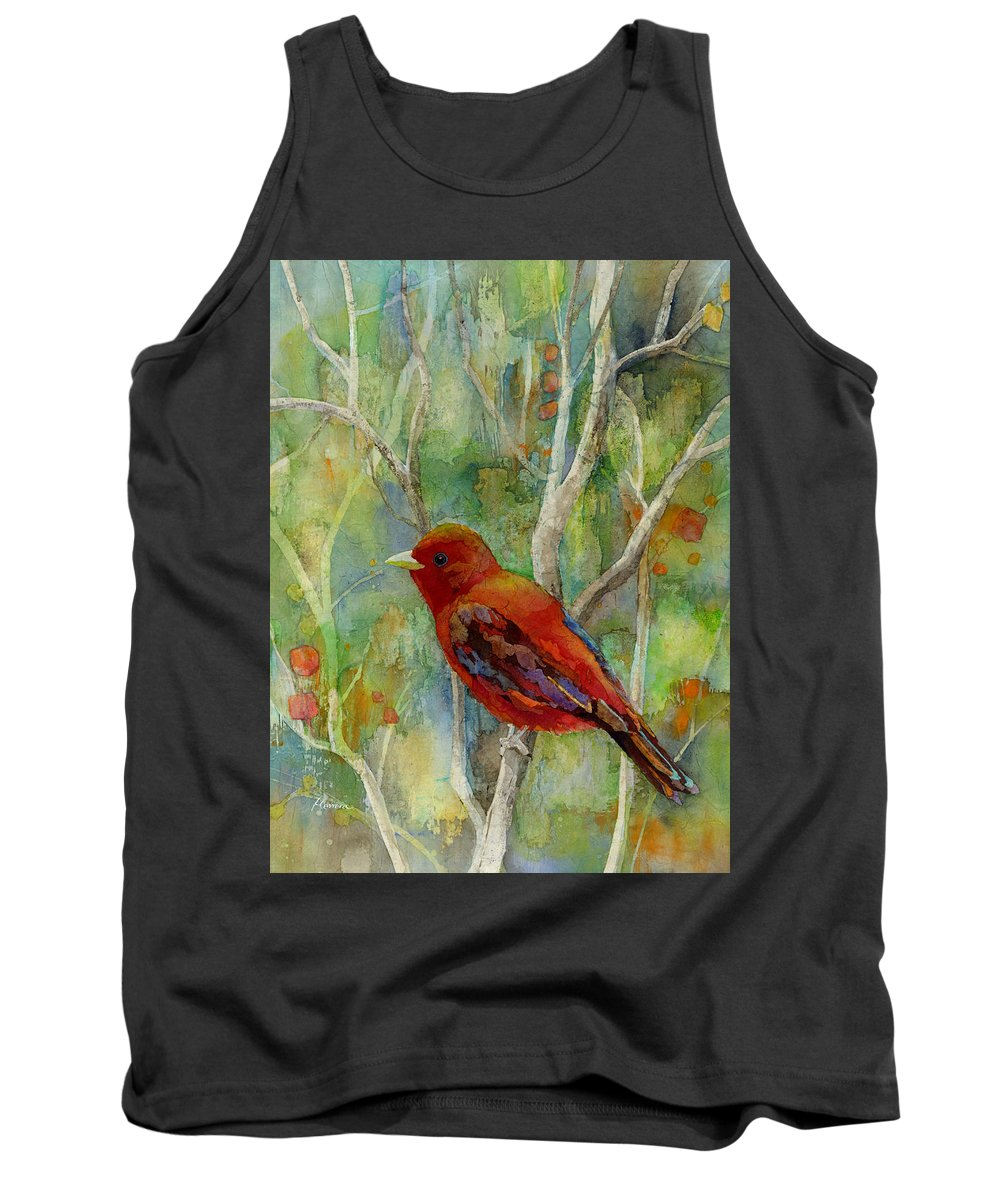 Redbird Tank Top featuring the painting Forest Serenity by Hailey E Herrera