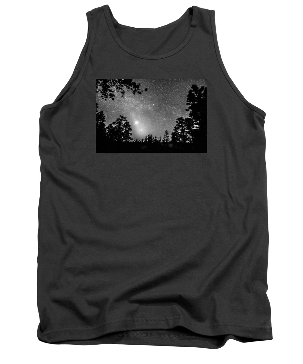 Sky Tank Top featuring the photograph Forest Silhouettes Constellation Astronomy Gazing by James BO Insogna