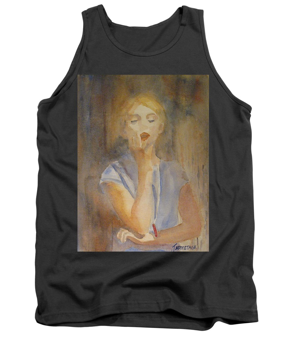 Woman Tank Top featuring the painting Forest Singer by Jenny Armitage