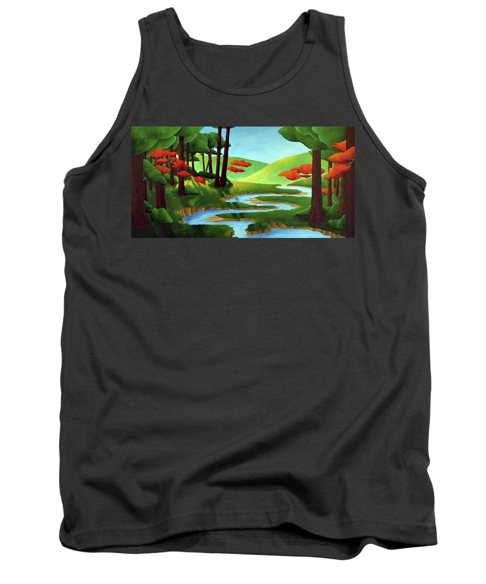 Landscape Tank Top featuring the painting Forest Stream - Through The Forest Series by Richard Hoedl