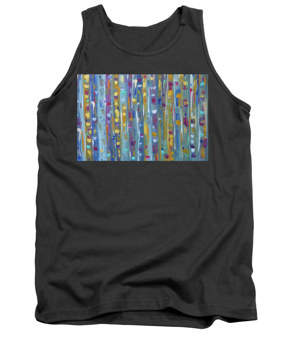 Teal Abstract Tank Top featuring the painting Forest Through The Trees, Abstract Art by Kathy Symonds