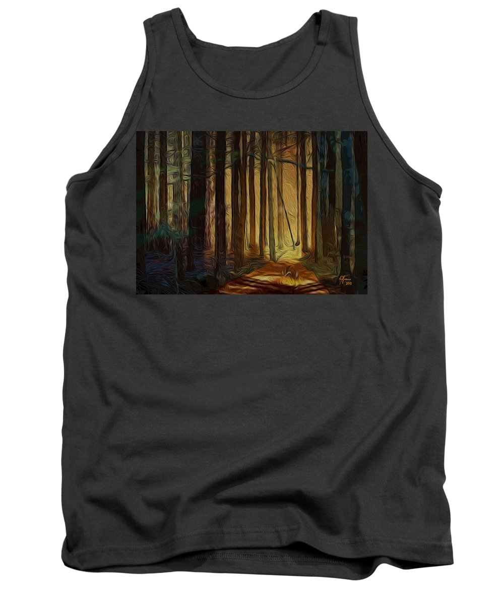 Artwork For Sale Tank Top featuring the digital art Forrest Sun by Vincent Franco