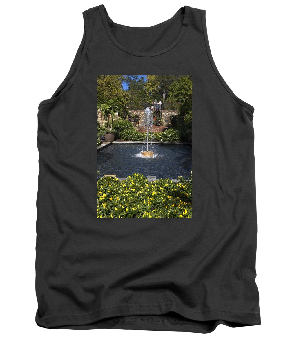 Garden Scene Tank Top featuring the photograph Fountain And Peppers by Sally Weigand