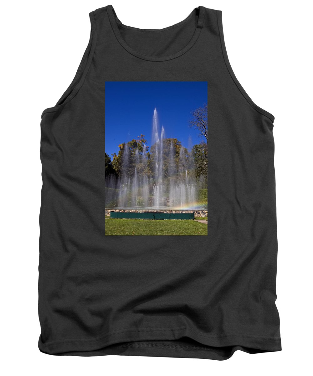 Fountains Shooting Water Tank Top featuring the photograph Fountain And Rainbow by Sally Weigand