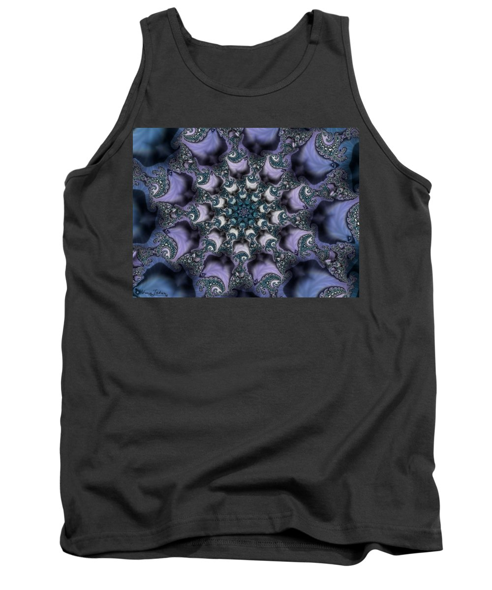 Fractal Rose Blossom Nature Life Organic Tank Top featuring the digital art Fractal 1 by Veronica Jackson