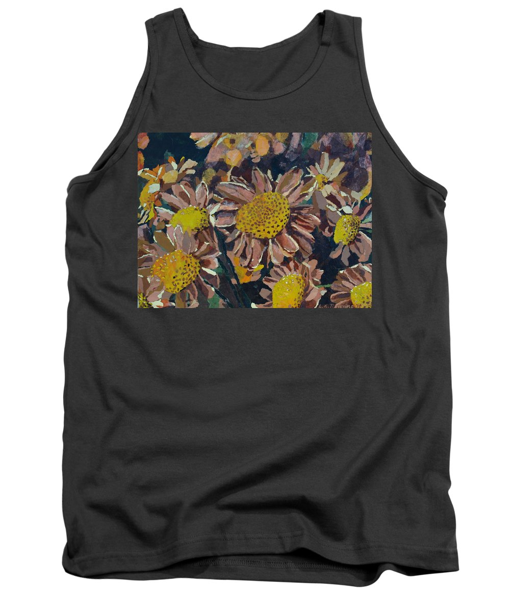 Recycle Tank Top featuring the painting Francescas Mums by Leah Tomaino