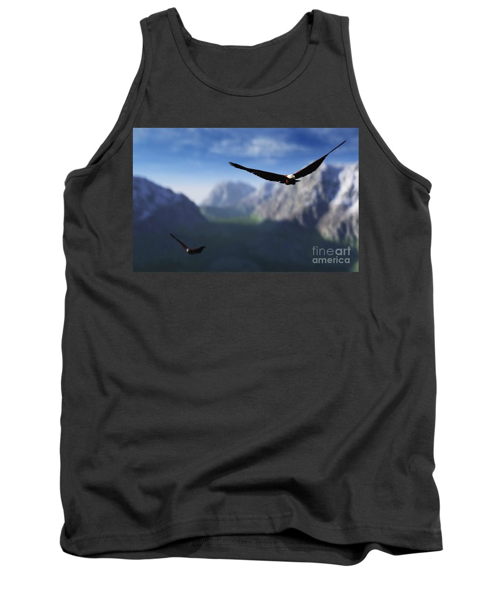 Eagles Tank Top featuring the digital art Free Bird by Richard Rizzo