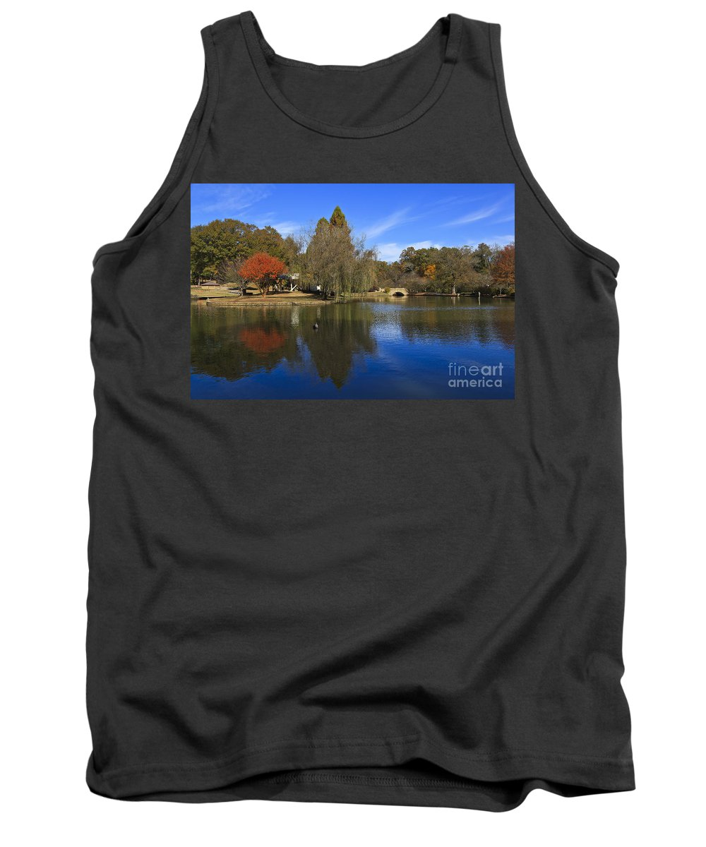 Freedom Tank Top featuring the photograph Freedom Park Bridge And Lake In Charlotte by Jill Lang