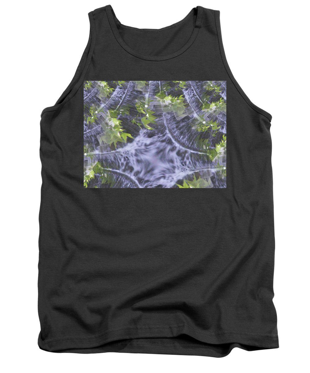 Seattle Tank Top featuring the digital art Freeway Park Waterfall 2 by Tim Allen