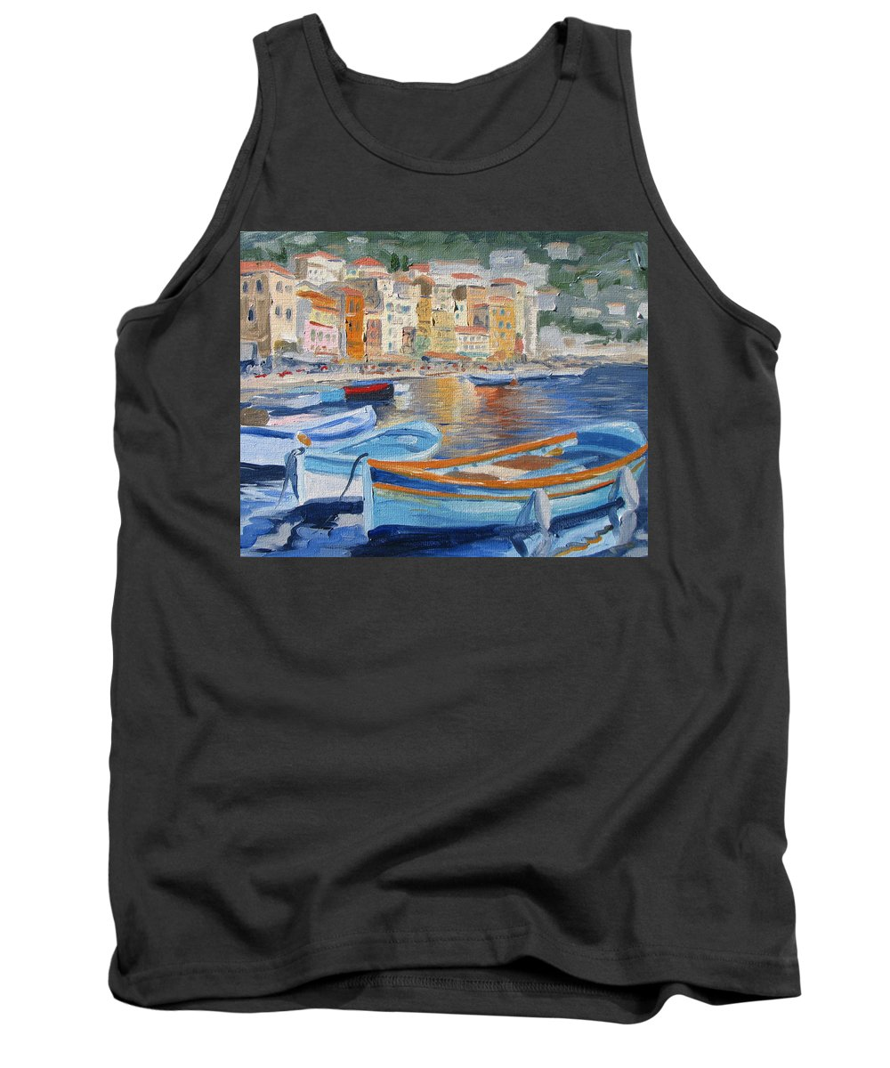 Seascape Tank Top featuring the painting French Harbor by Jay Johnson
