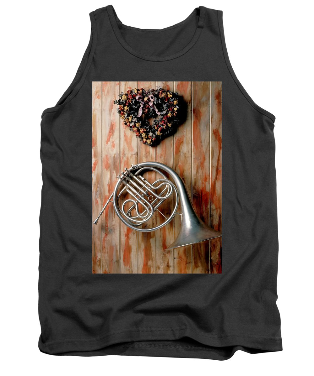 French Horn Tank Top featuring the photograph French Horn Hanging On Wall by Garry Gay