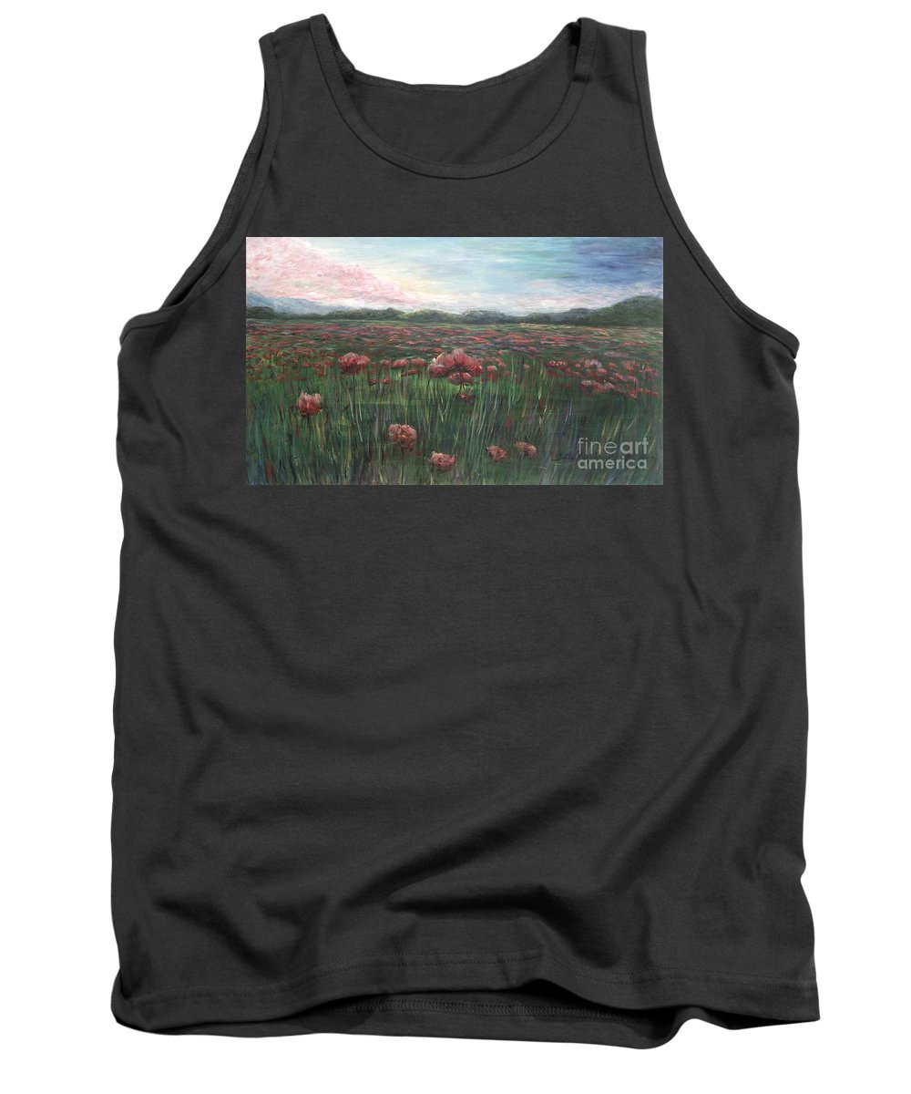 France Tank Top featuring the painting French Poppies by Nadine Rippelmeyer