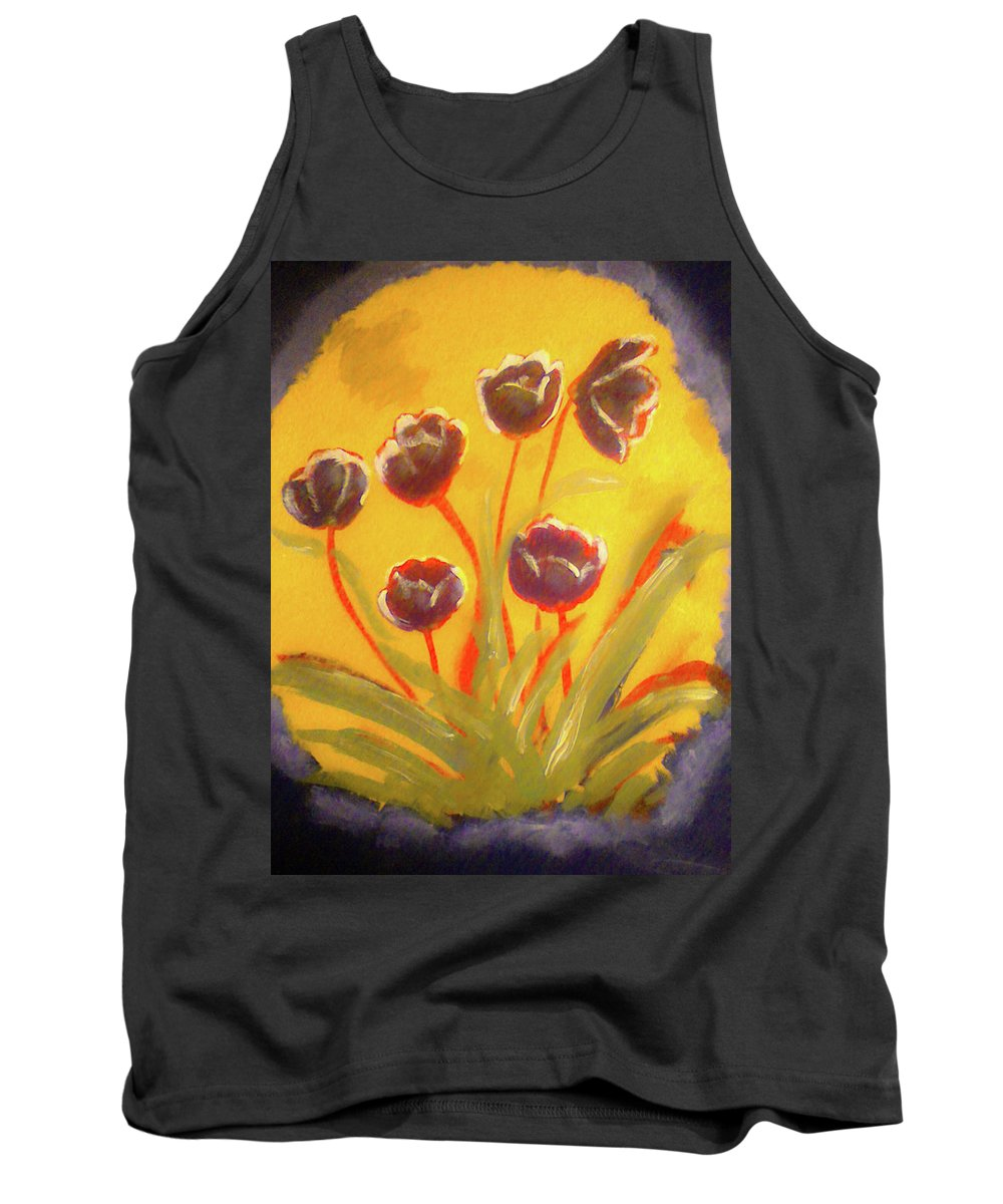 Floral Tank Top featuring the painting Fresh Flowers- 2nd In Series- The Dawn by Barbara Searcy