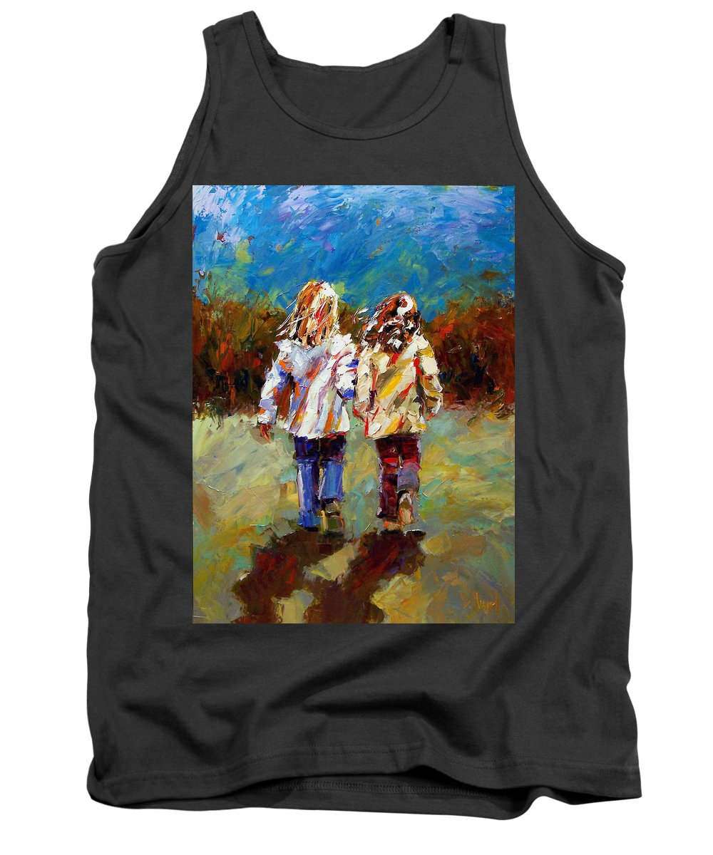 Girls Tank Top featuring the painting Friends Forever by Debra Hurd