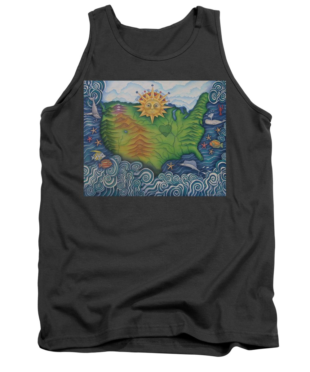 Map Tank Top featuring the painting From Sea To Shining Sea by Jeniffer Stapher-Thomas
