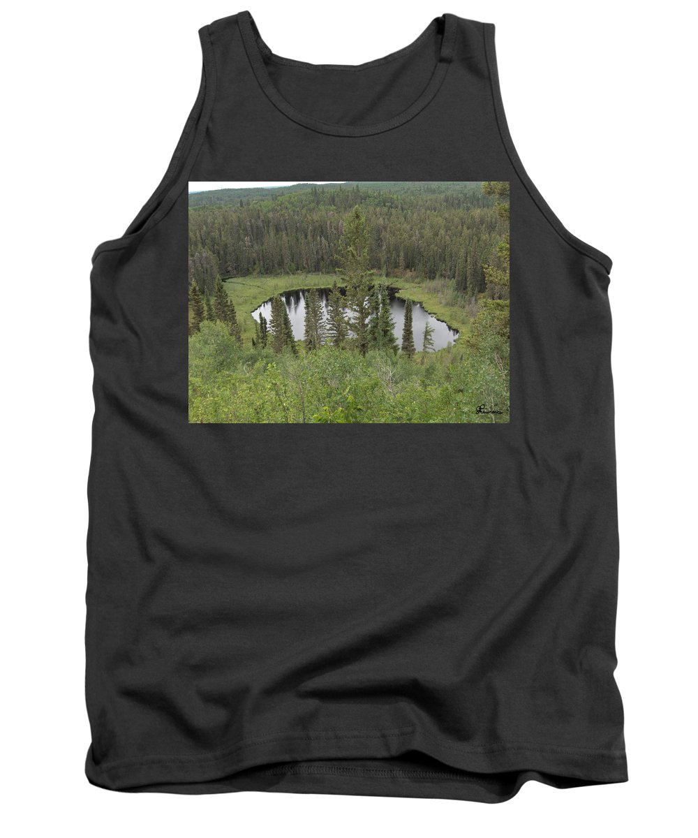 Esker Hills Saskatchewan Hanson Lake Road Lake Forest Water Trees Evergreen Scenery Wild Pond Tank Top featuring the photograph From The Top Of Esker Hills by Andrea Lawrence