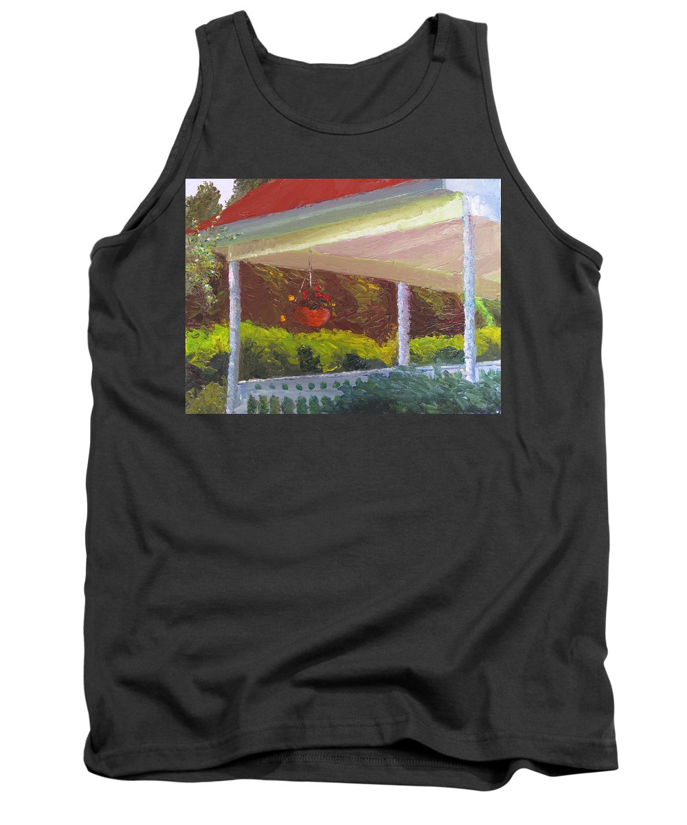 Landscape Painting Tank Top featuring the painting Front Porch - Morning by Lea Novak