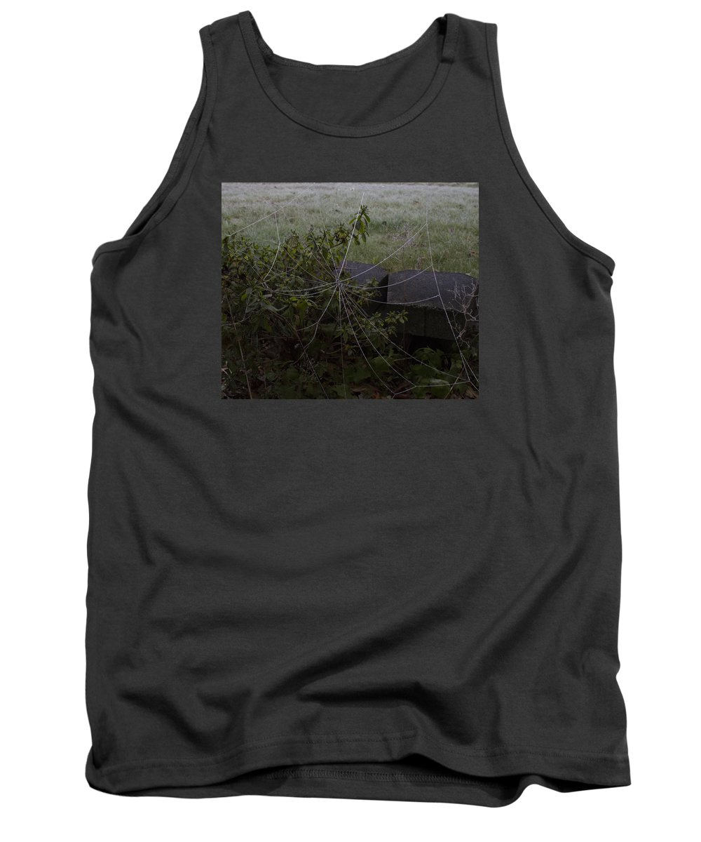 Spider Web Tank Top featuring the photograph Frozen Web With Light To Dark Background by Mark Denton