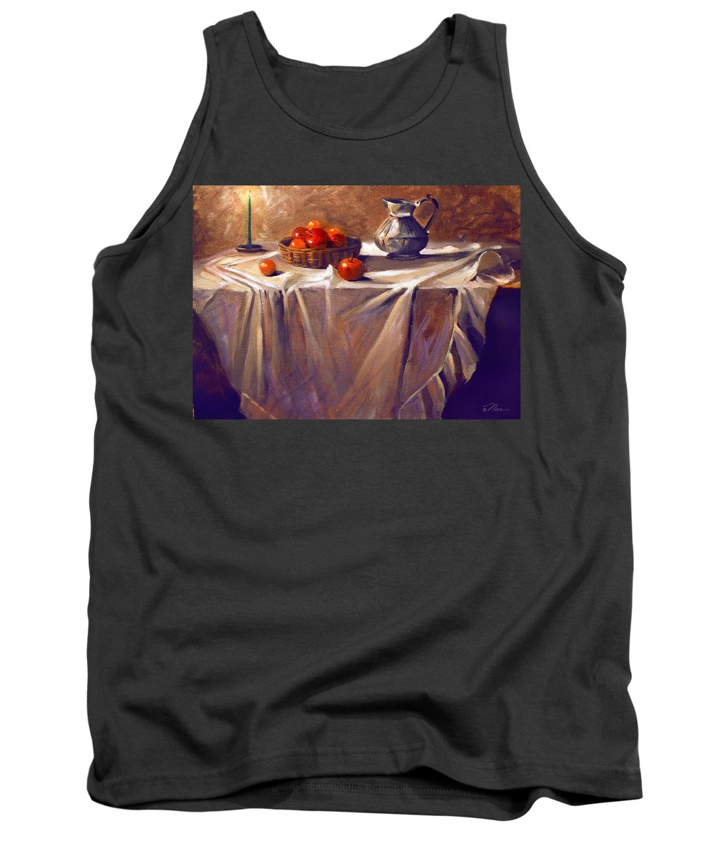 Still Life Tank Top featuring the painting Fruit By Candle Light by Nancy Griswold