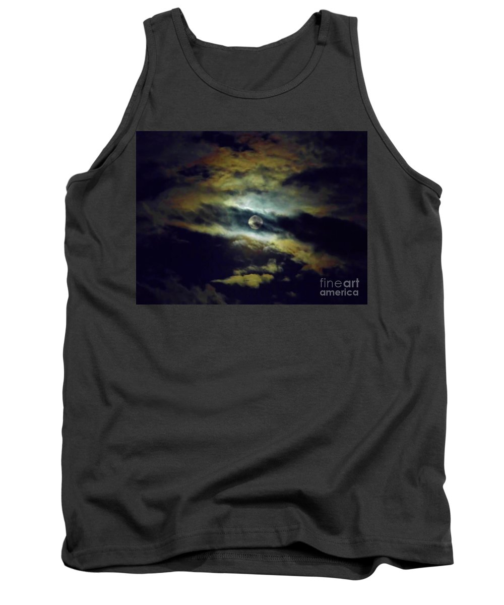 Moon Tank Top featuring the photograph Full Moon And Clouds by D Hackett