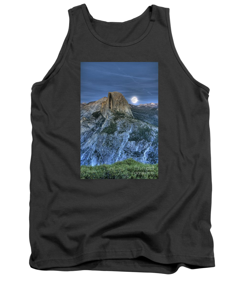 Half Dome Tank Top featuring the photograph Full Moon Rising Behind Half Dome by Jim And Emily Bush