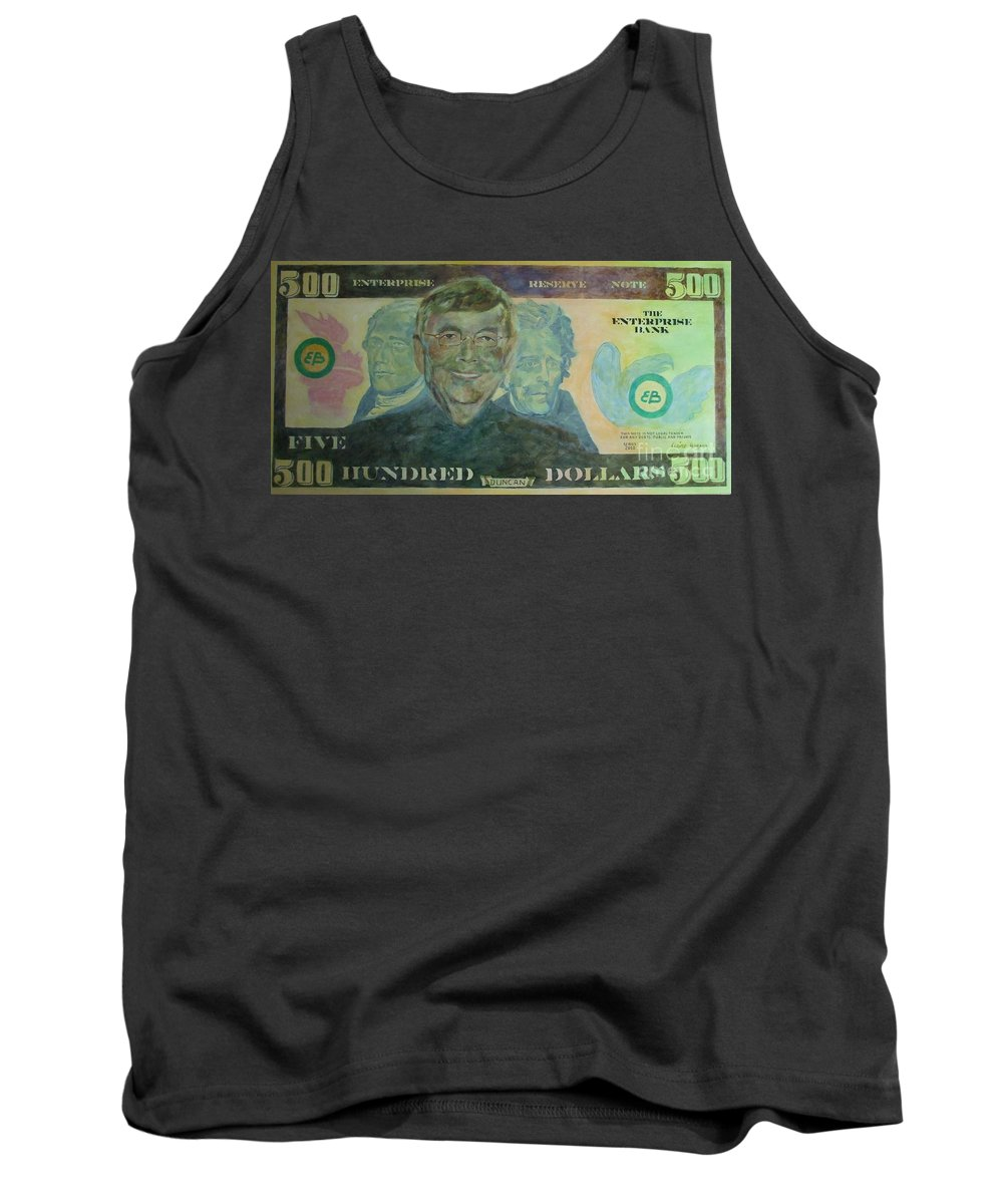 Money Tank Top featuring the painting Funny Money by Claire Gagnon